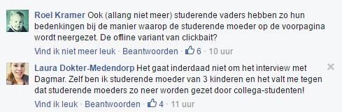 reacties op facebook